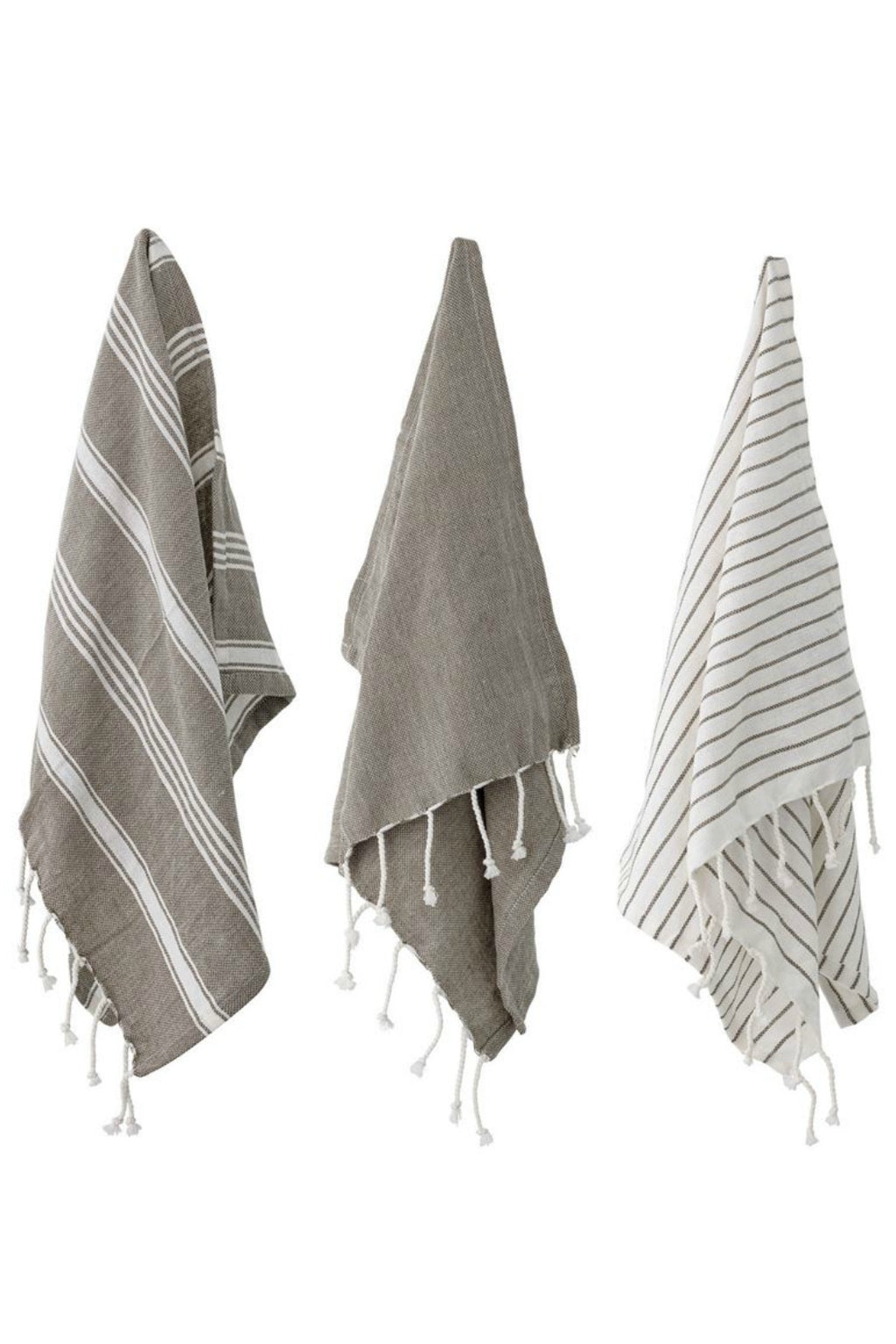 Bloomingville Woven Cotton Tassel Tea Towels
