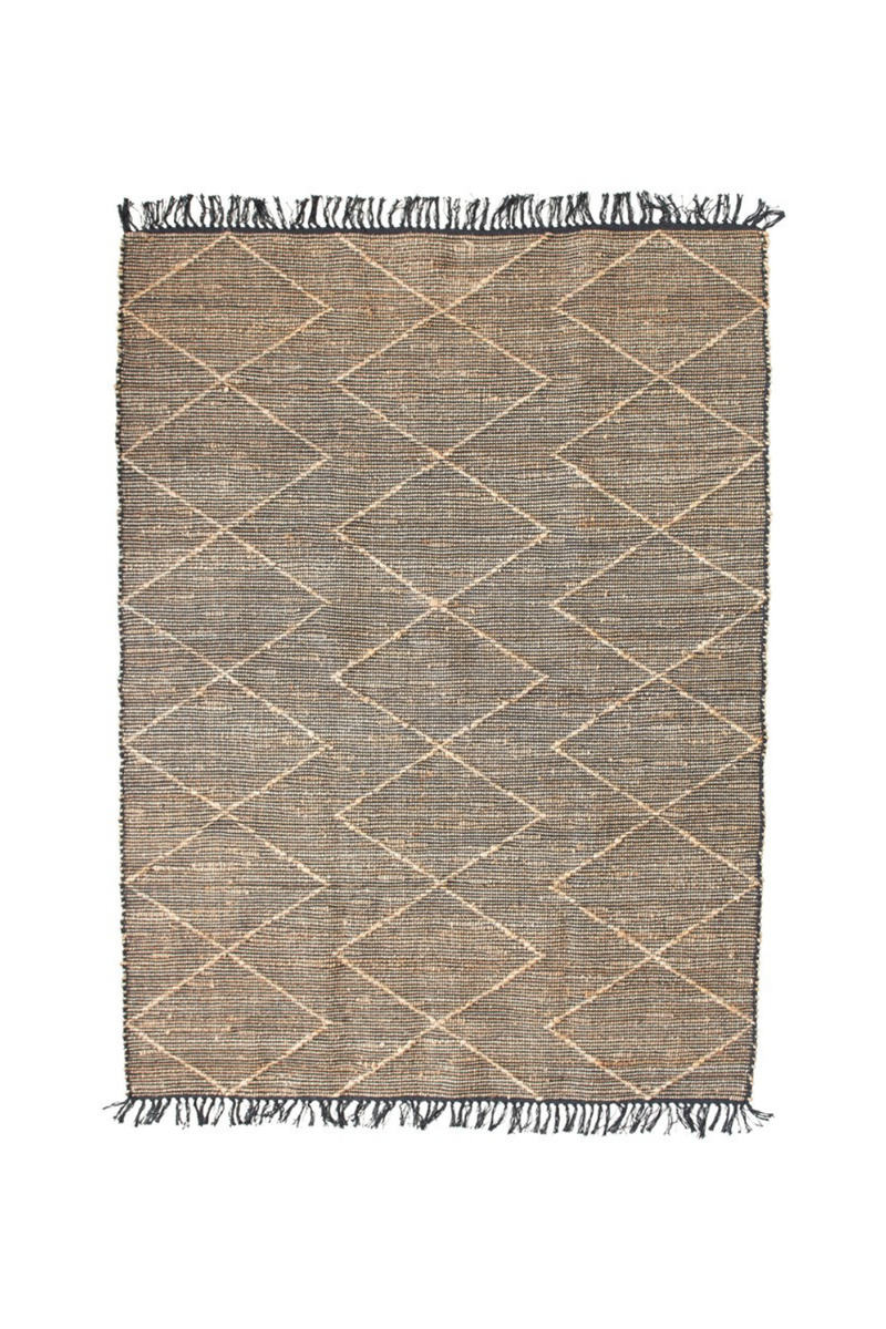 Creative Co-op Black Diamond Jute Rug with Fringe DF4573
