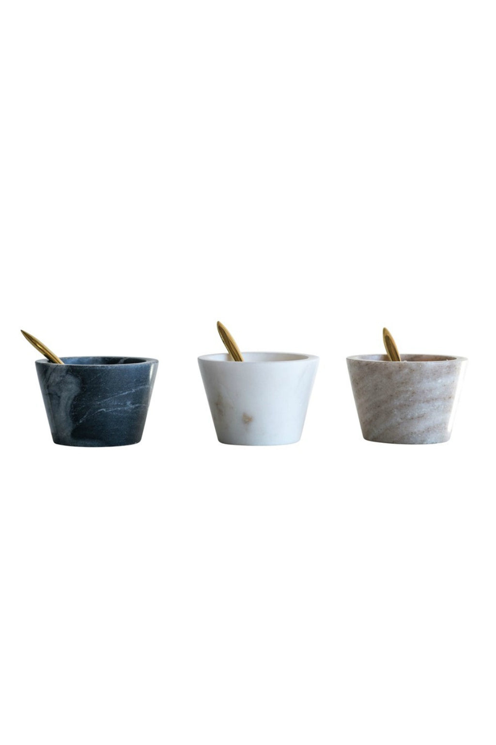 Creative Co-Op Marble Bowl + Brass Spoon Set