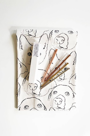 Hali Hali Tea Towel + Cocktail Straw Gift Set in Doggy