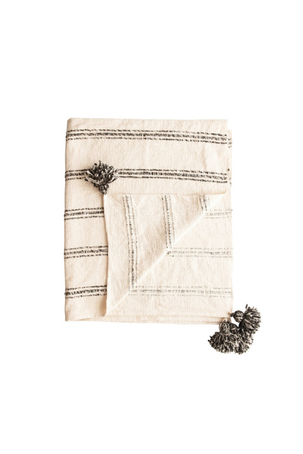 Creative Co-op Natural Woven Cotton Throw with Tassels DF4536
