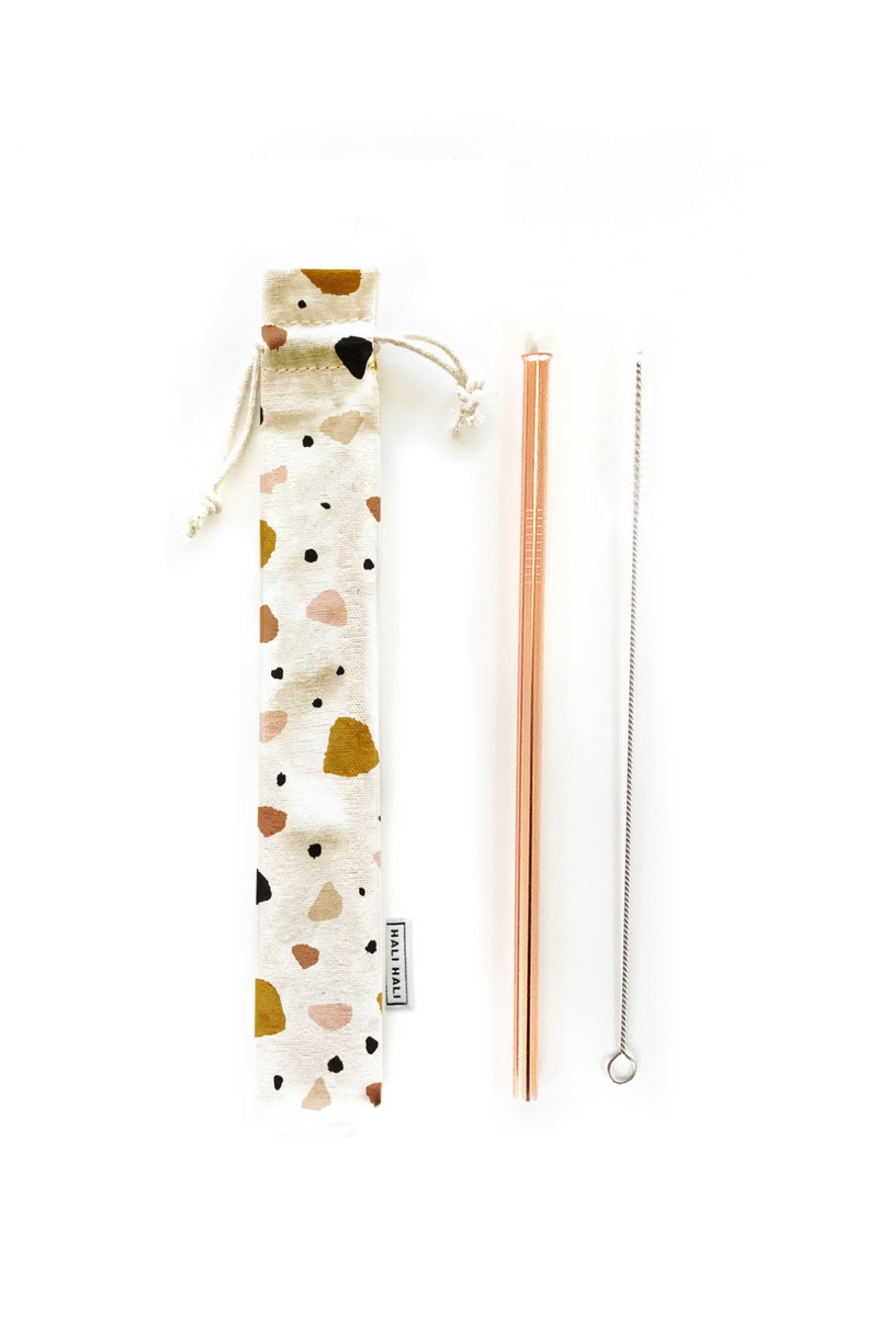Hali Hali Reusable Straw 3-Piece Set in Small Terrazzo
