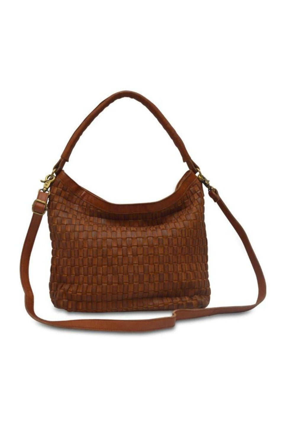 Anabaglish Skylar Woven Leather Bag in Cognac