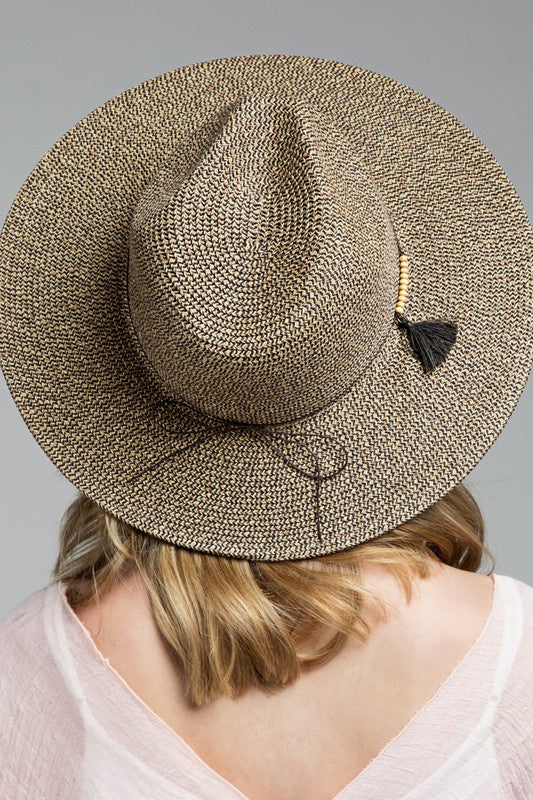 Margo Panama Hat with Wooden Beads and Tassel