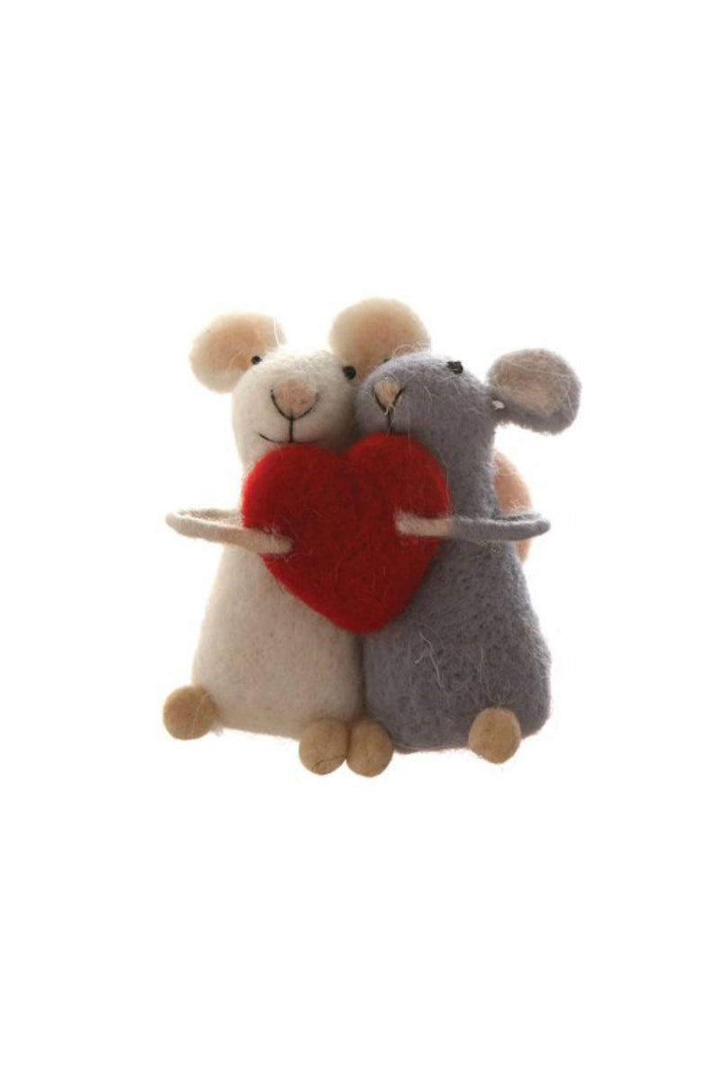 Creative Co-Op Wool Felt Mice with Heart Ornament