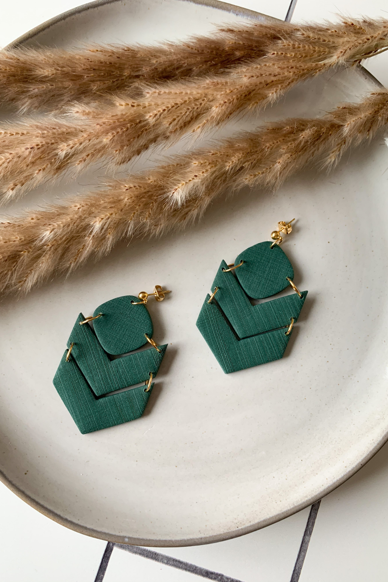 Sweet Nothings By Taniesha Izzy Earrings in Textured Pine Green