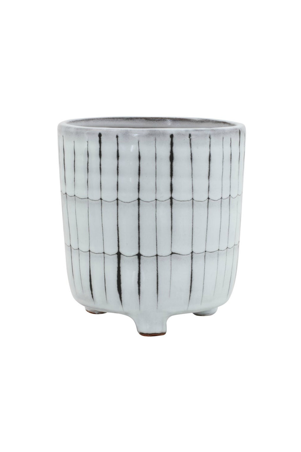 Creative Co-op White & Black Terracotta Footed Planter