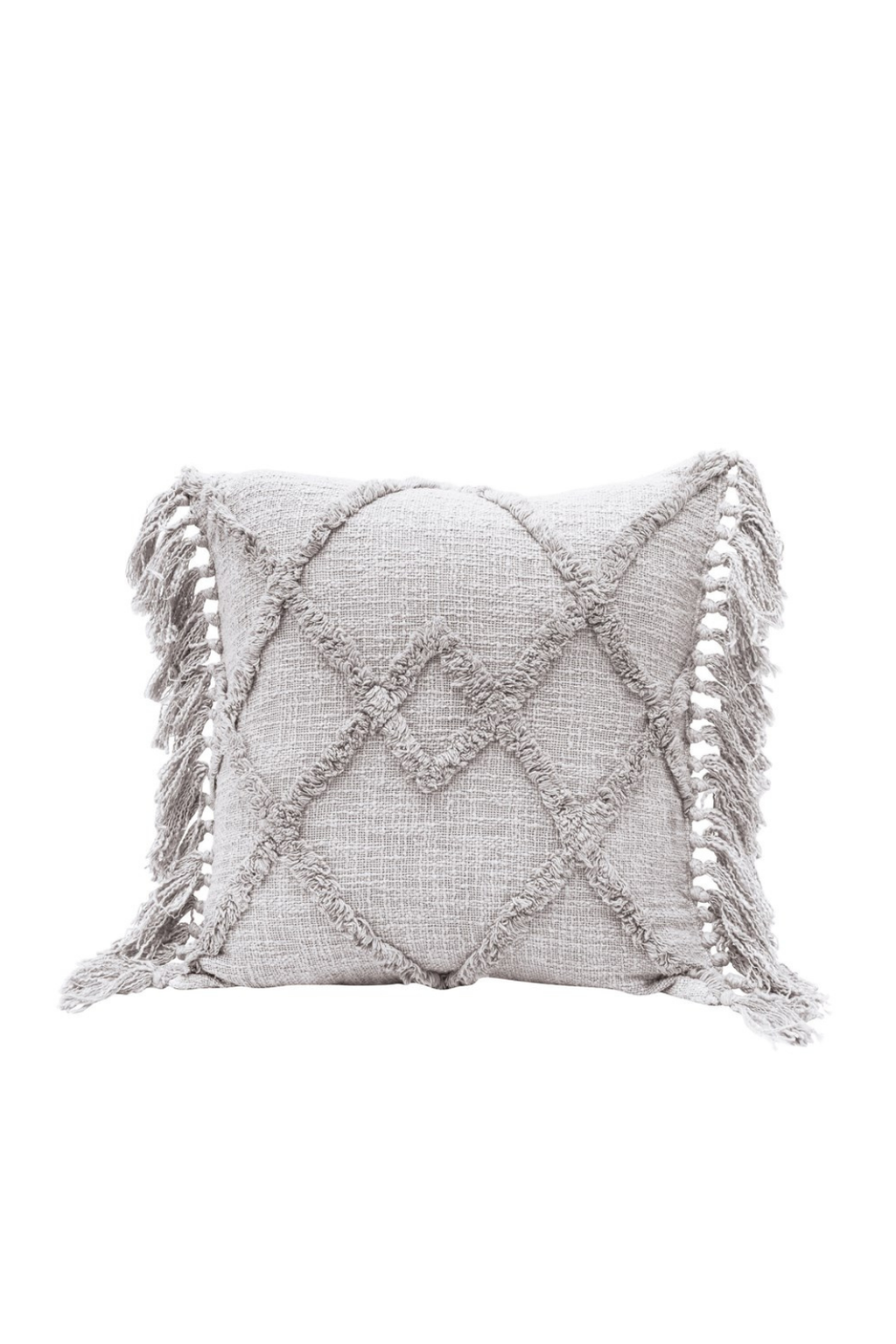 Creative Co-op Grey Tufted Diamond Cotton Pillow with Tassels DF4566