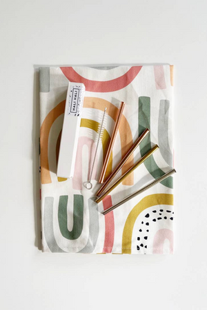 Hali Hali Tea Towel + Cocktail Straw Gift Set in Rainbow
