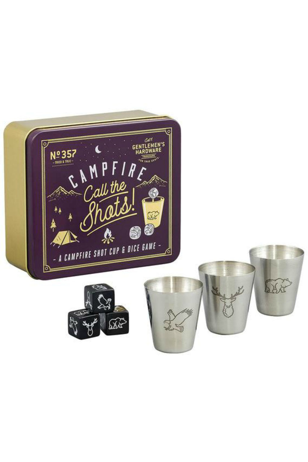 Gentleman's Hardware Campfire Call the Shots Dice Drinking GameCampfire 'Call The Shots!' Shot Cup and Dice Game