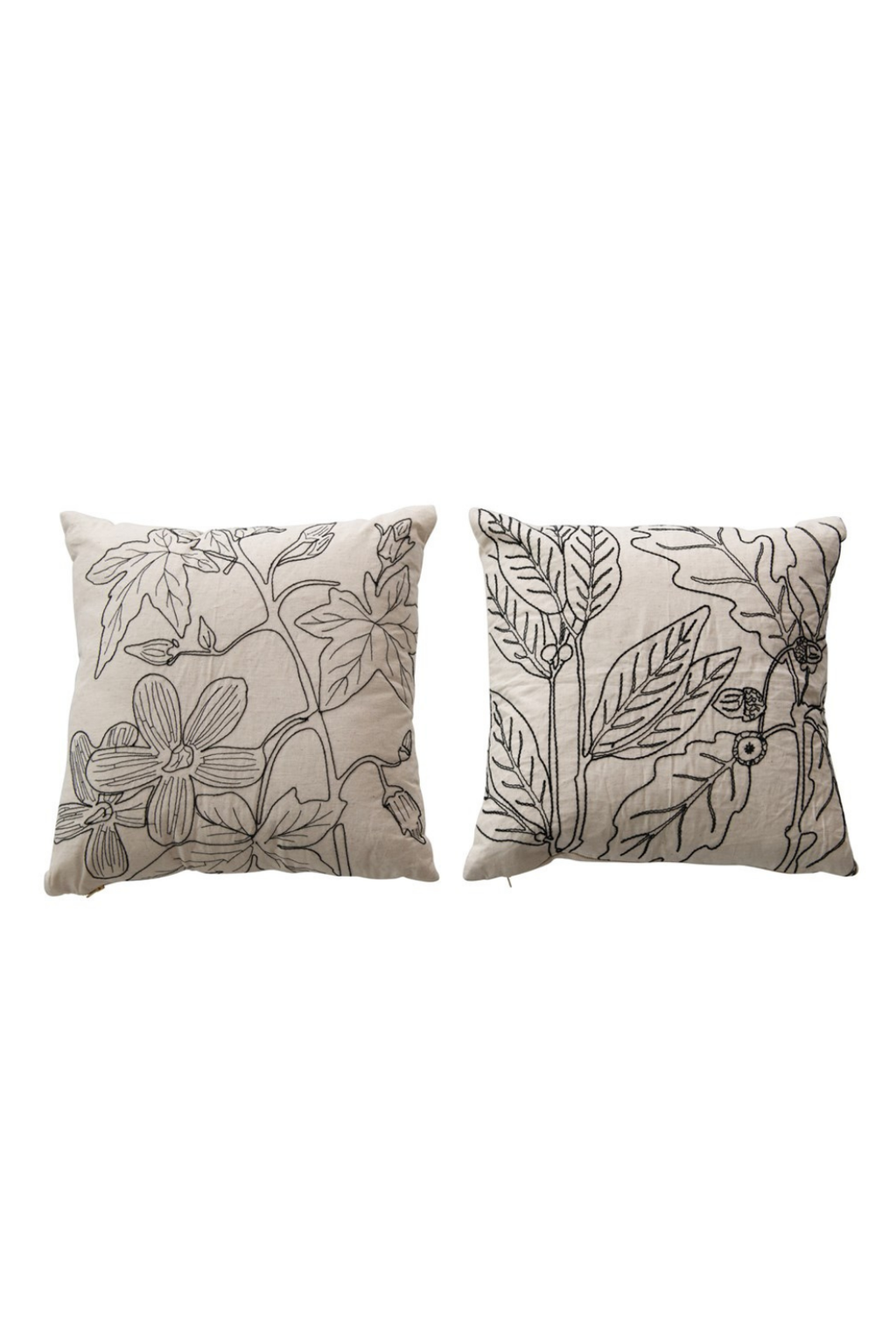 Creative Co-op Black + Cream Botanical Embroidered Pillows