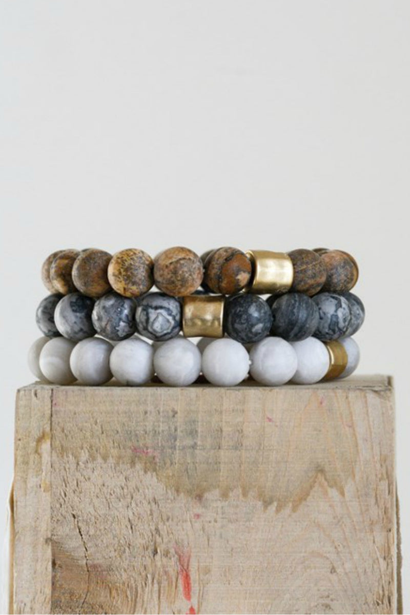 Creative Co-Op Stone Larch Stretch Bracelet