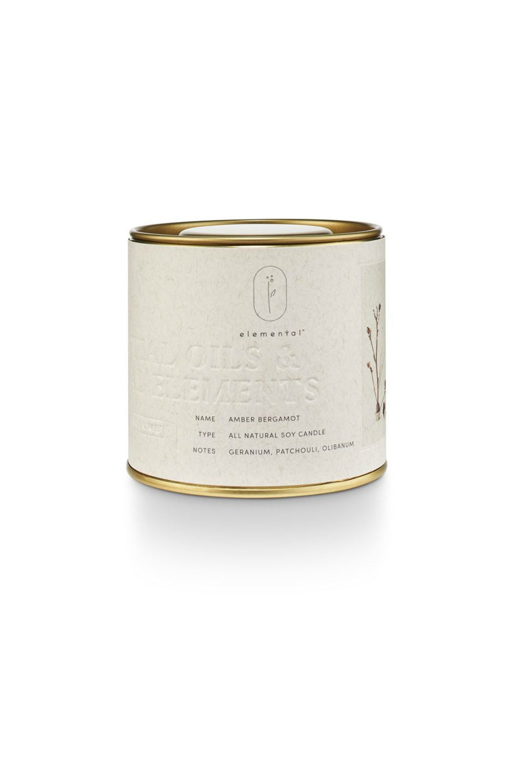 Illume Elemental Amber Bergamot Tin Candle