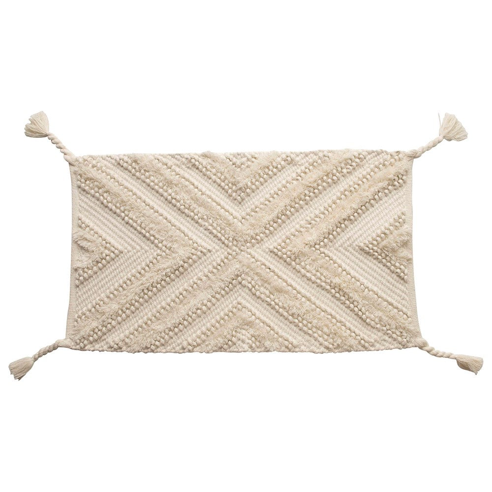 Creative Co-op Woven Cotton  Rug with Braided Tassels
