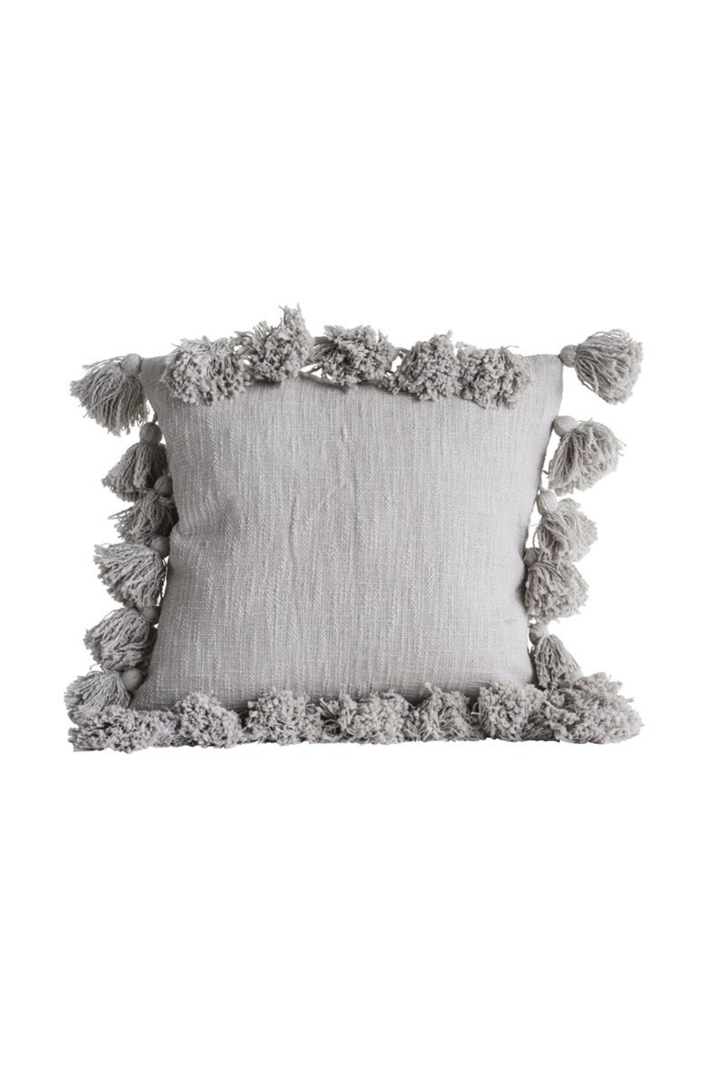 Creative Co-op Grey Cotton Slub Tassel Pillow