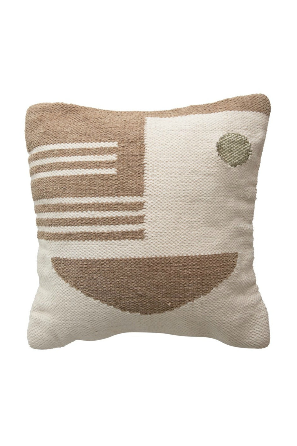 Creative Co-Op Deco Cotton + Wool Taupe Pillow