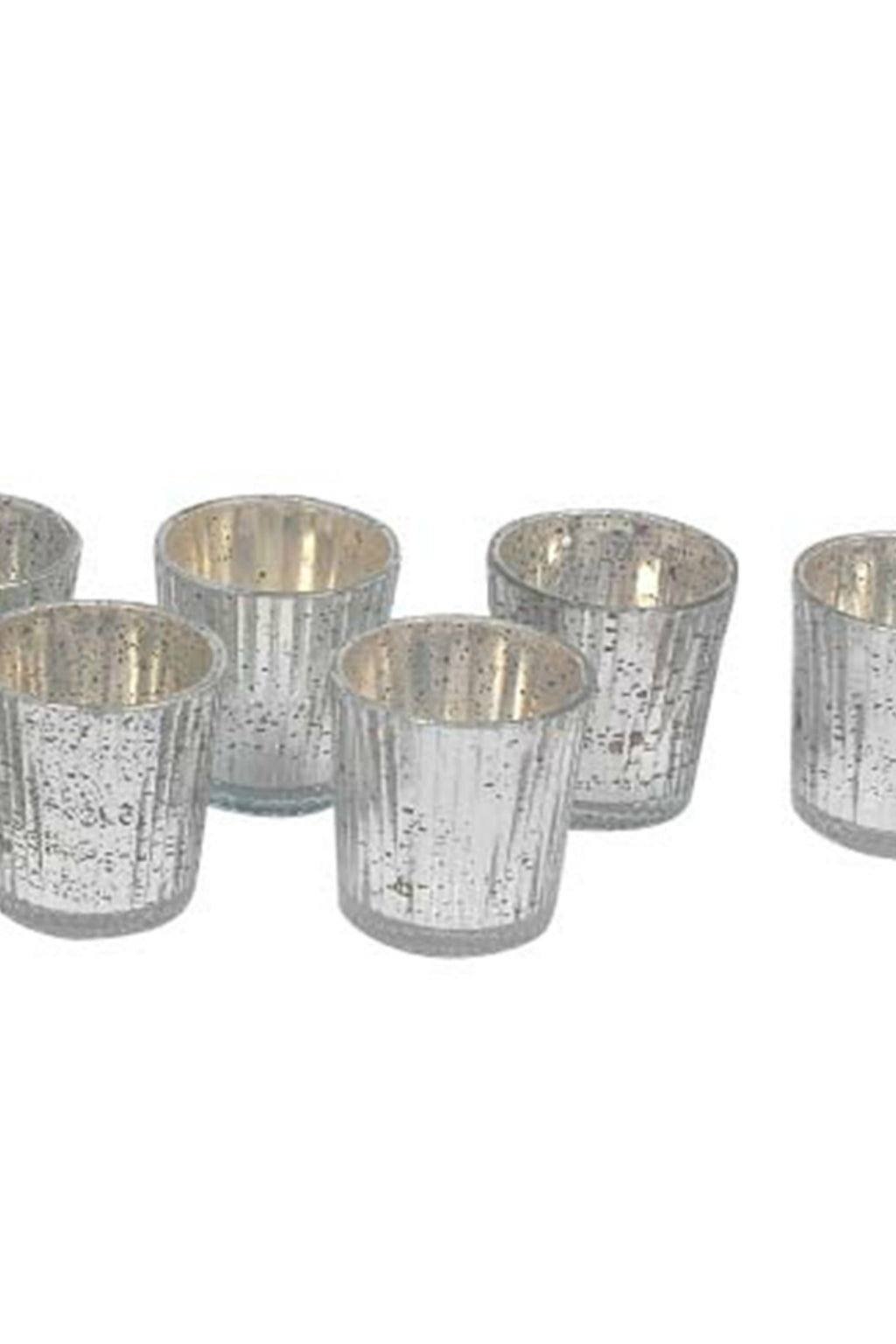 BIDK Home Silver Finish Mercury Glass Votives