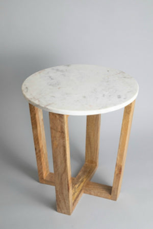 BIDK Home Mango Wood + Marble Table