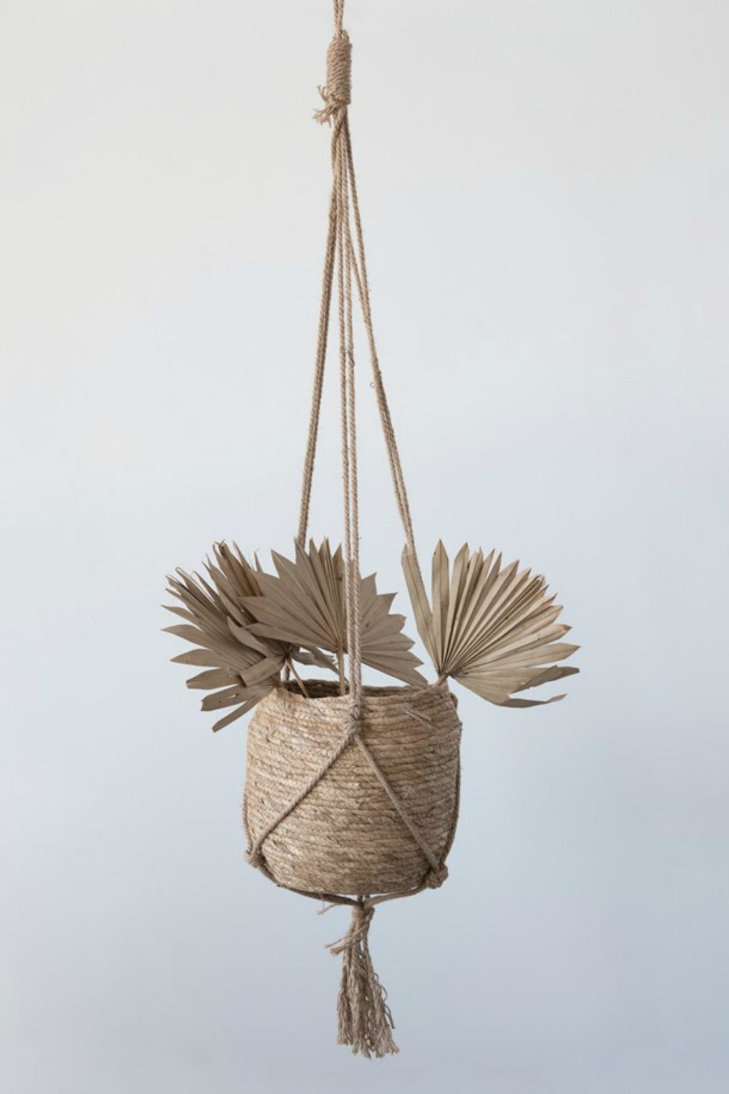 Straw + Jute Hanging Basket Planter