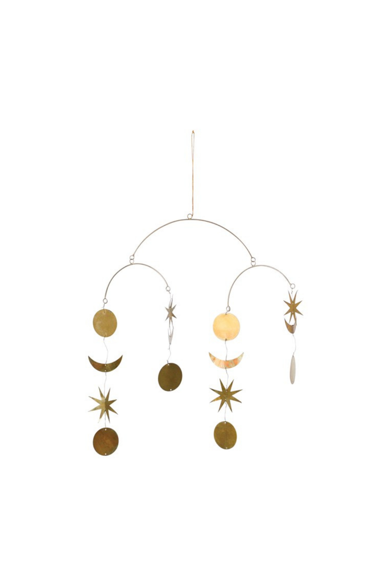 Creative Co-op Brass Star + Moon Mobile