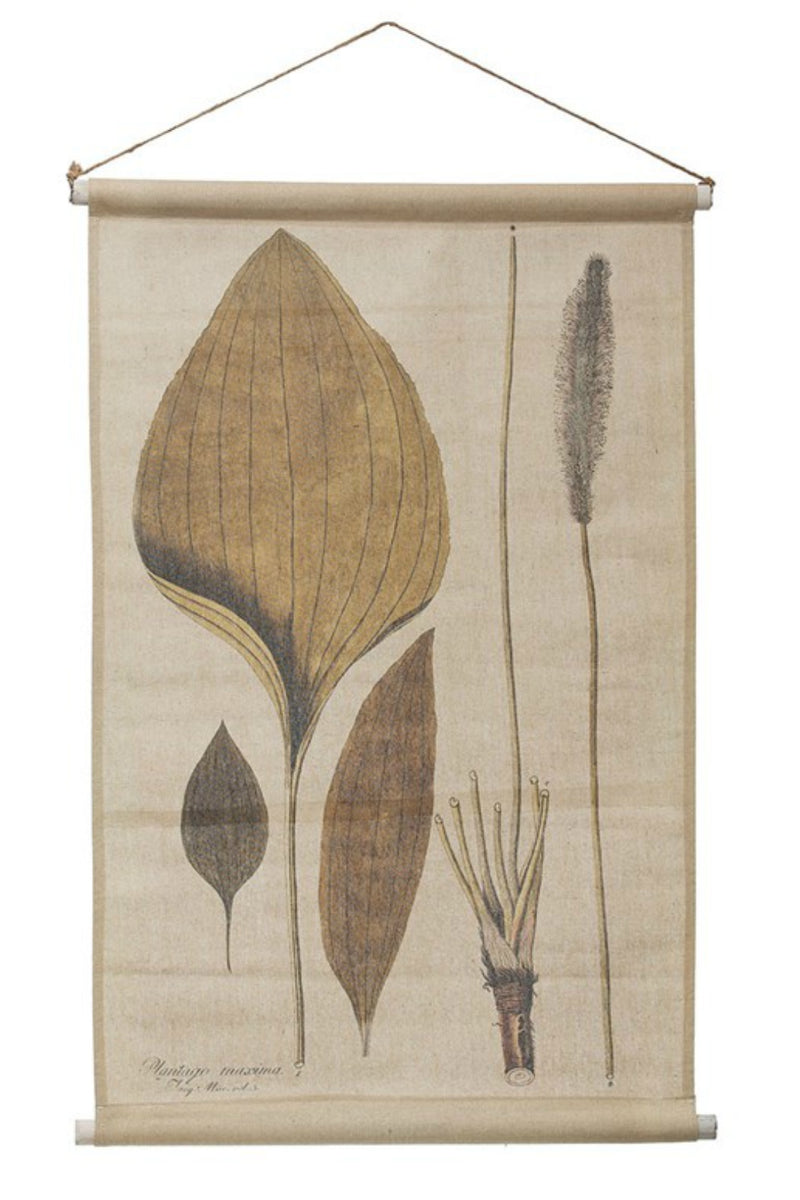 Creative Co-op Vintage Leaves Linen + Wood Wall Scroll
