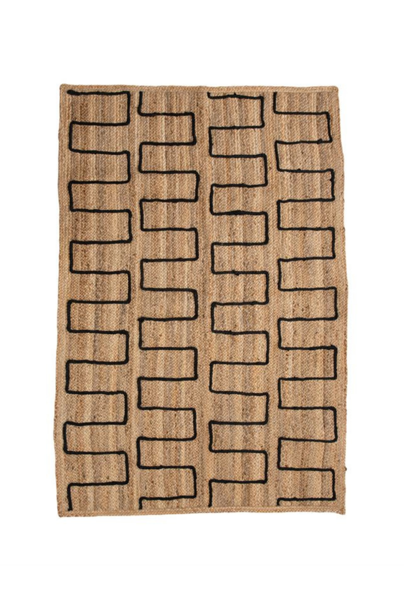 Bloomingville Braided Jute Rug with Stitched Design