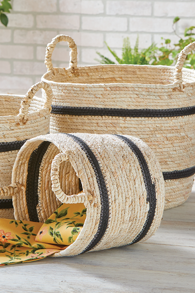 TAG Maize Stripe Round Basket with Handles