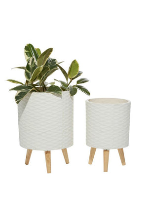 UMA Home Decor Textured Cylinder White Fiber Clay Planter w/Wood Legs