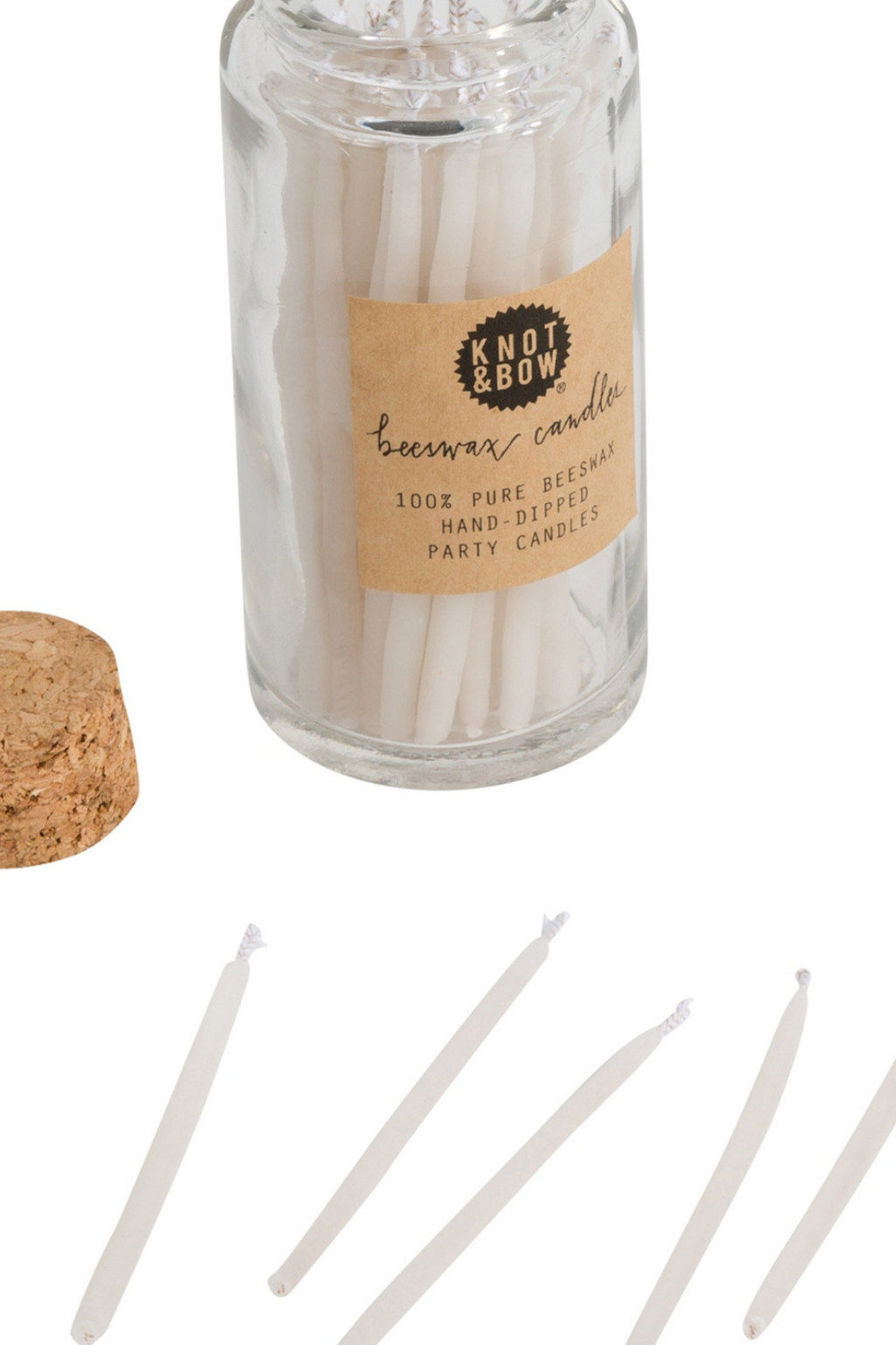Knot & Bow Beeswax Birthday Candles in Ivory