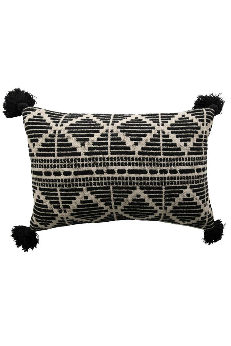 Bloomingville Black + Beige Woven Lumbar Pillow