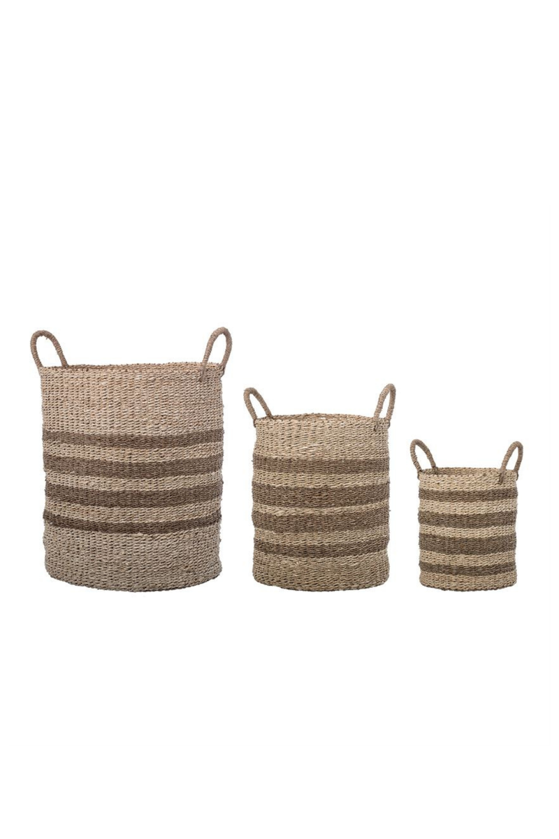 Bloomingville Natural Seagrass + Palm Handled Basket