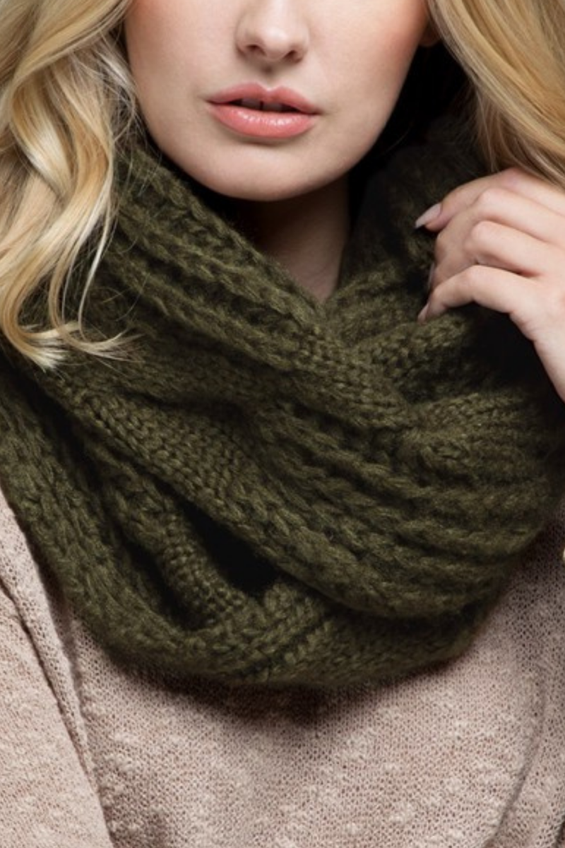 EcoVibe Soft Cable Knit Infinity Scarf in Olive