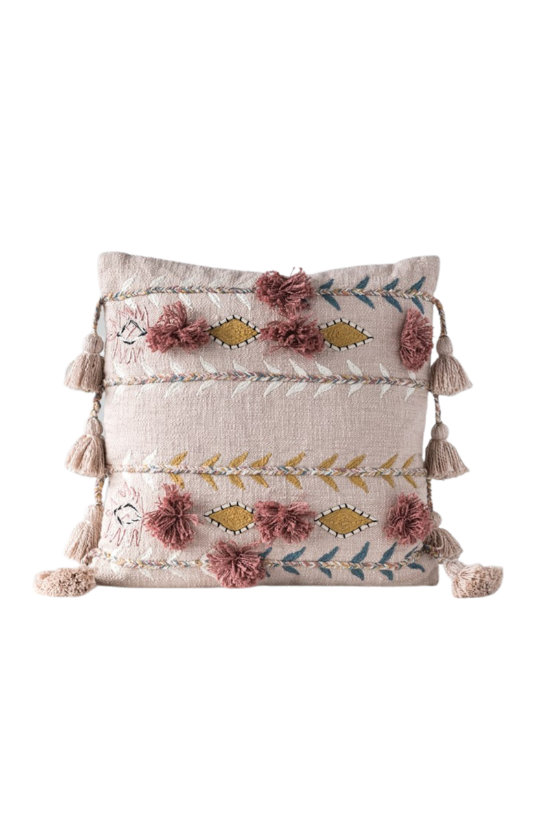 Creative Co-op Pink Bohemian Embroidered Tassel Pillow