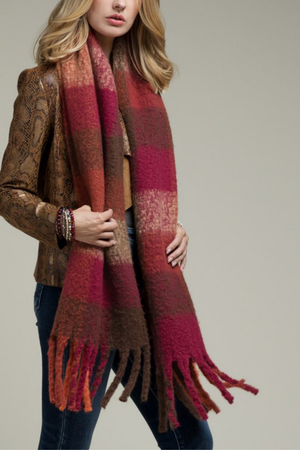 EcoVibe Oblong Plaid Fringe Scarf in Rust/Cranberry