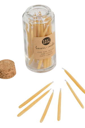 Knot & Bow Beeswax Birthday Candles in Natural