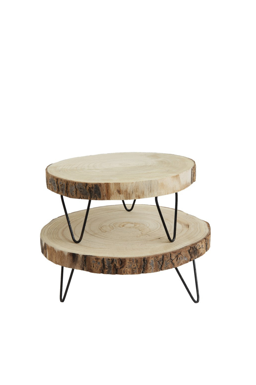 Creative Co-op Paulownia Wood Pedestal w/ Metal Legs