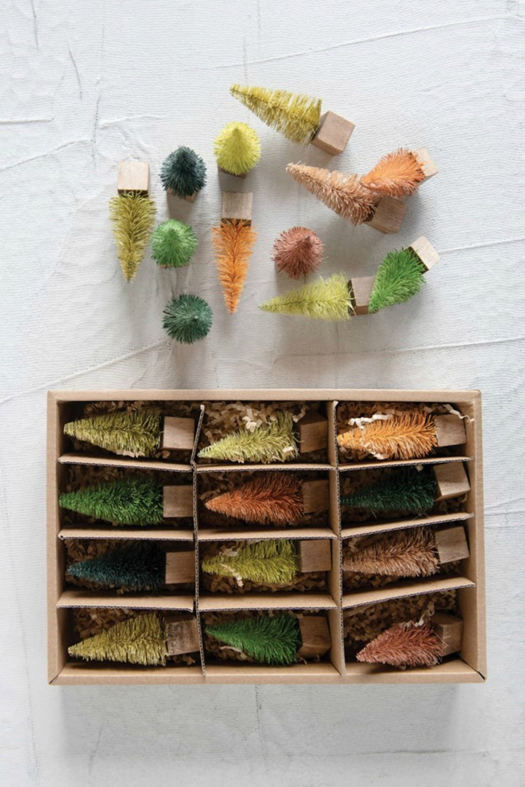 Creative Co-Op Bottled Brush Tree Set