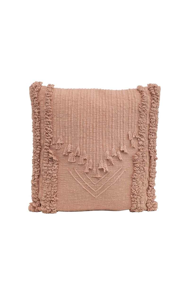 Creative Co-op Rose Embroidered Fringe Pillow DF2409