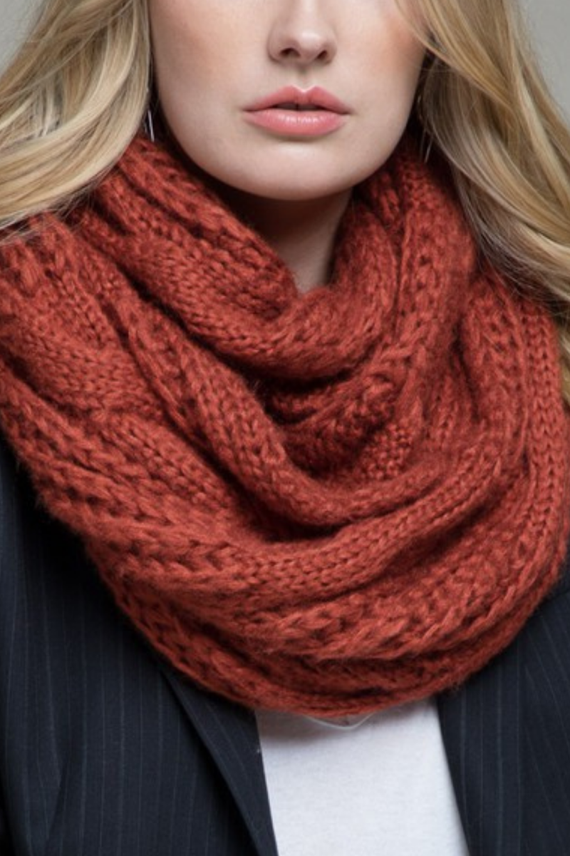 EcoVibe Soft Cable Knit Infinity Scarf in Rust