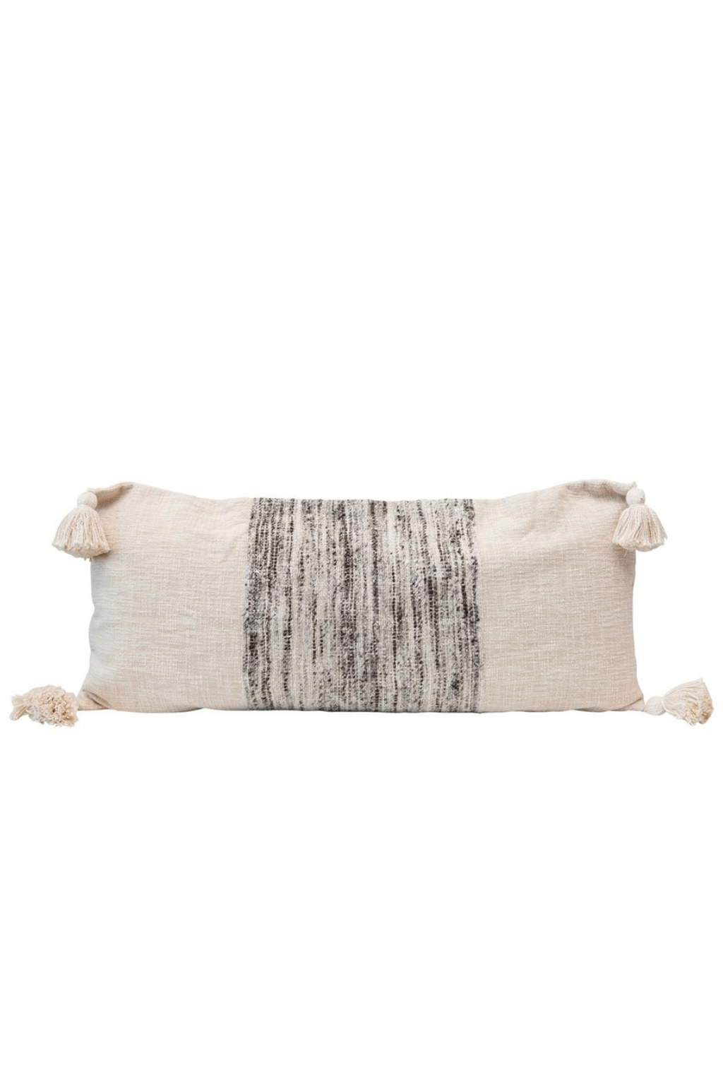 Creative Co-op Sonoma Woven Lumbar Pillow with Tassels DF4537