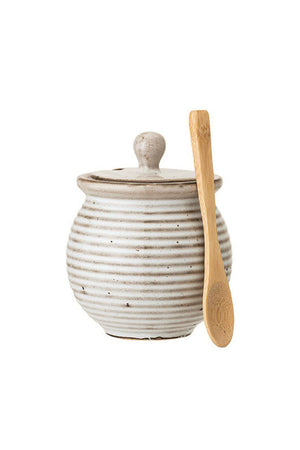 Bloomingville Stoneware Honey Pot w/Bamboo Dipper