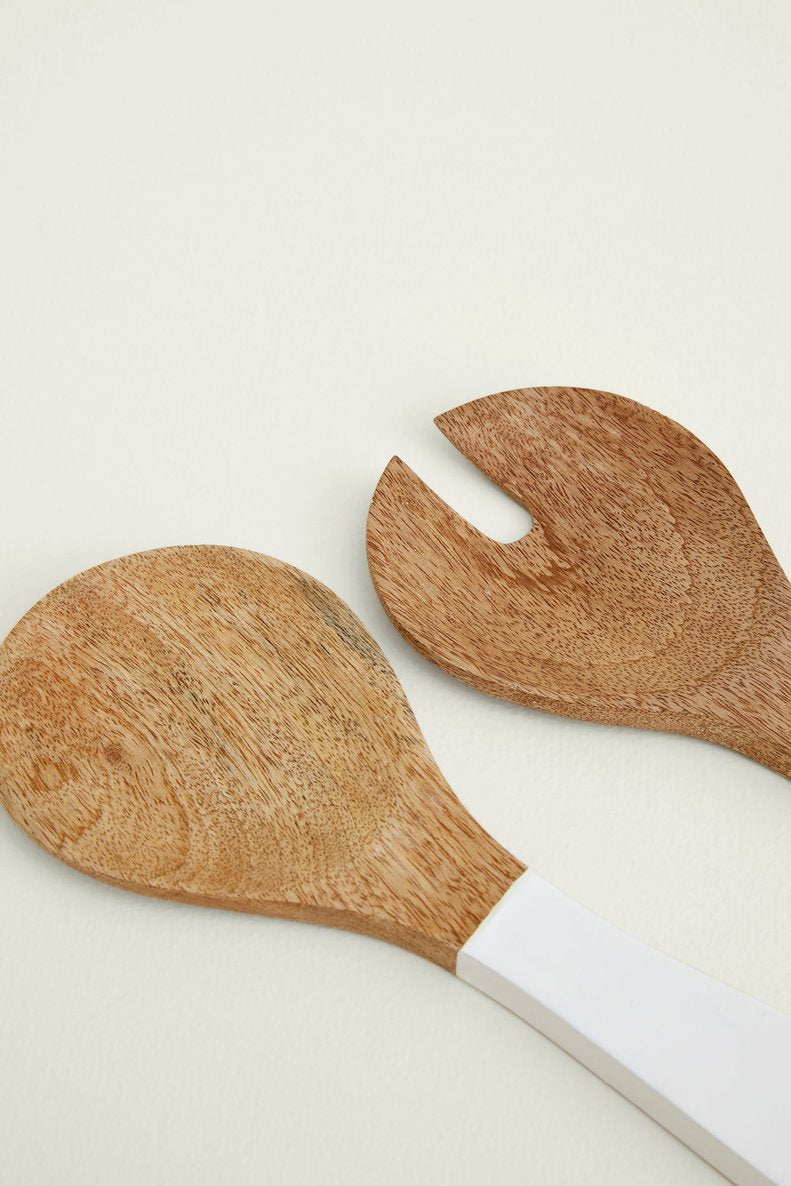 EcoVibe Style - Be Home Mango Wood & White Enamel Serving Set