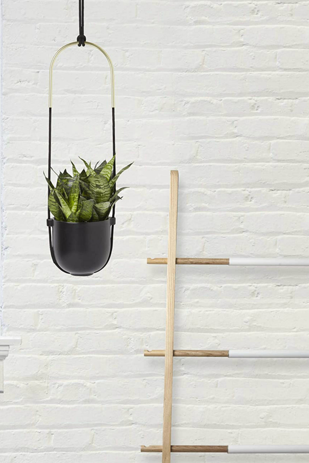 Umbra Bolo Hanging Planter, Black and Brass
