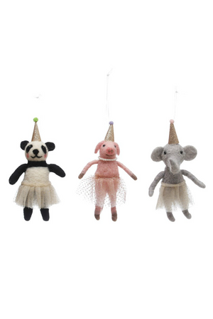 Creative Co-Op Wool Felt Party Hat Animal Ornament