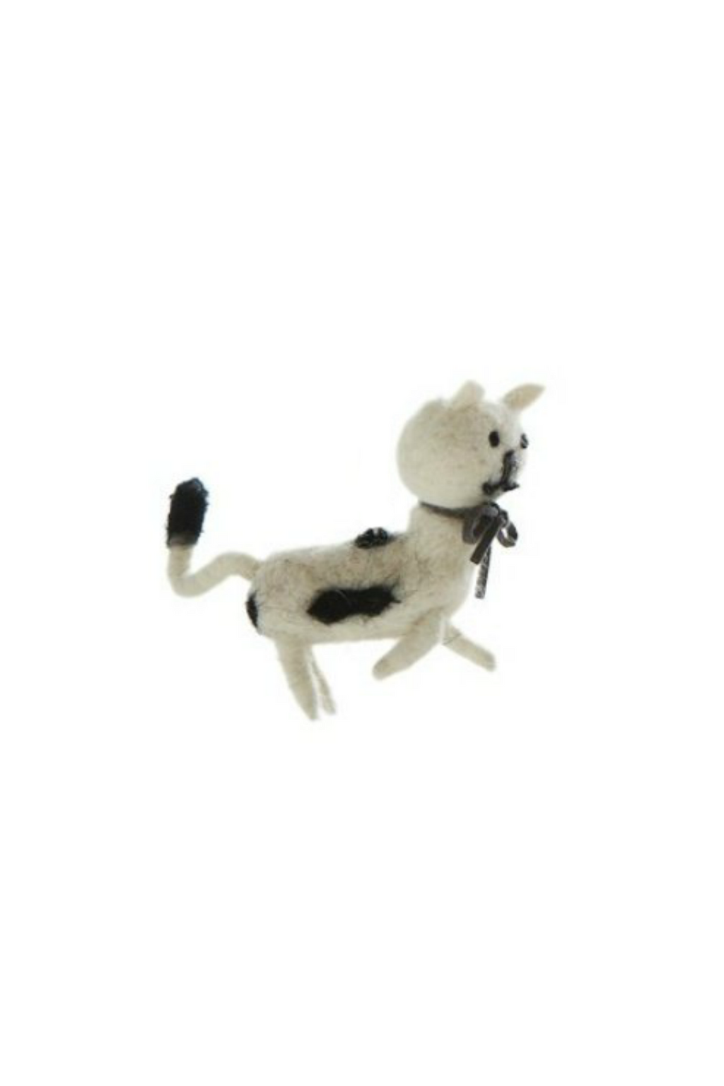 Creative Co-Op Wool Felt Cat Ornament White