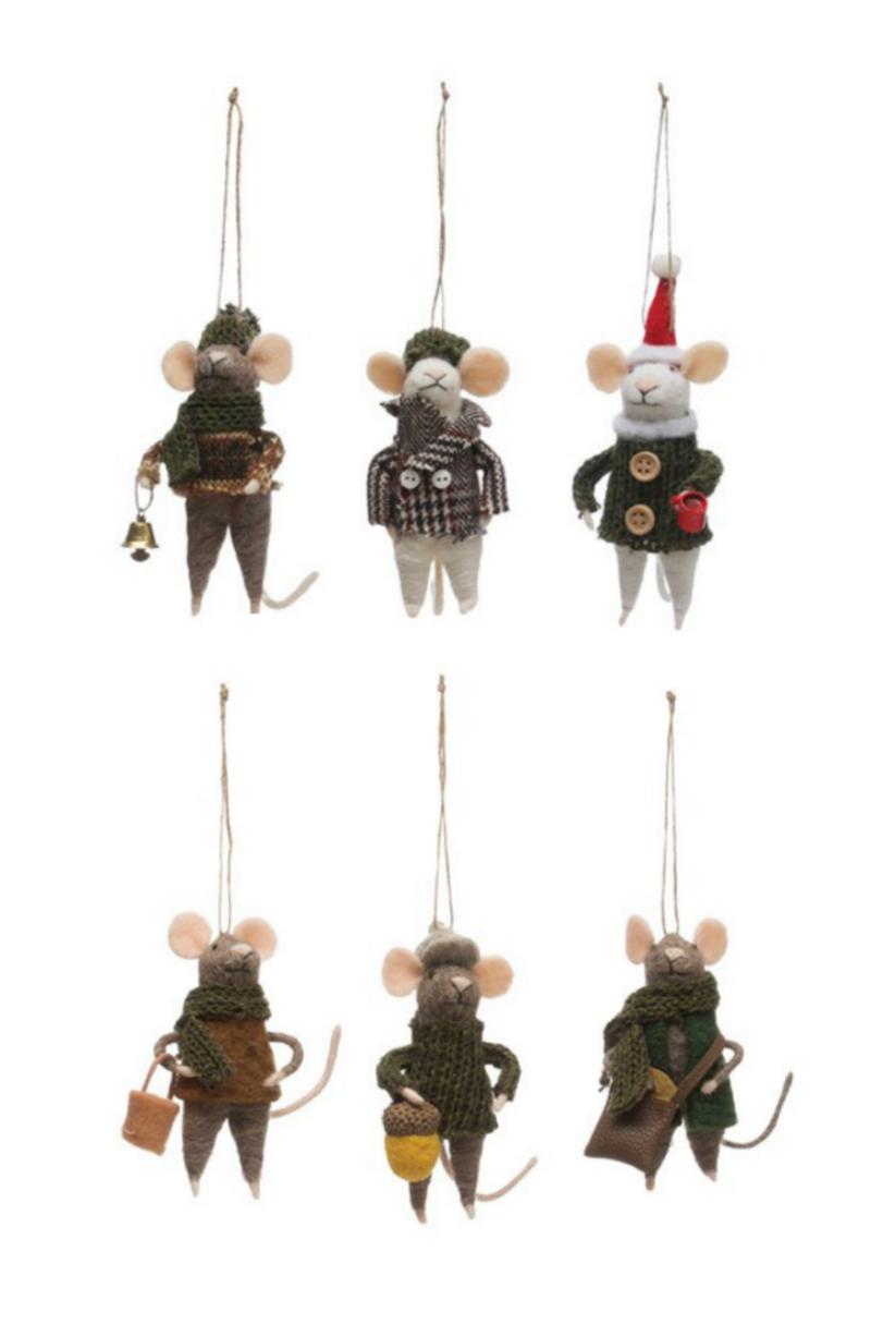 Creative Co-Op Wool Felt Hipster Mouse Ornament