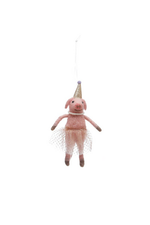 Creative Co-Op Wool Felt Party Hat Pig Ornament