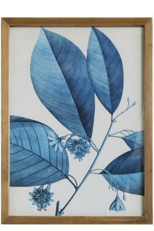 Bloomingille Blue Botanical Wood Framed Wall Decor No. 1