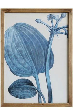 Bloomingille Blue Botanical Wood Framed Wall Decor No. 2