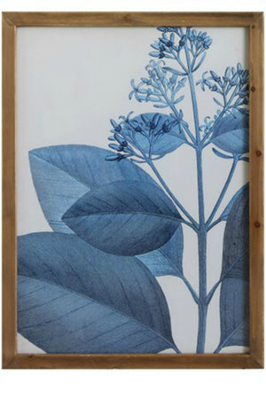 Bloomingille Blue Botanical Wood Framed Wall Decor No. 3